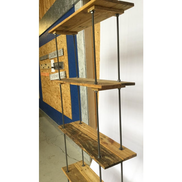 Industrial Tall Recycled Wood and Metal Rod Adjustable Bookcase Shelf For Sale - Image 4 of 12