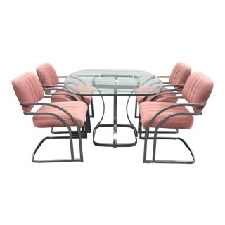 Milo Baughman Style Glass Top Dining Set
