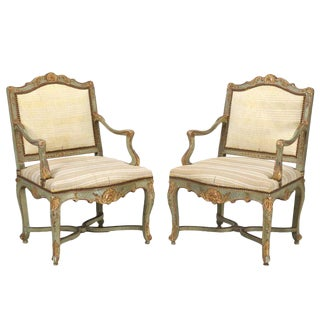 Antique Italian Louis XV Style Armchairs in Original Paint For Sale