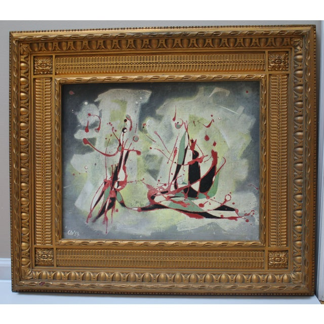 Original abstract painting on board by Carl Alexander Von Volborth (1919-2009). He was an instructor at Cincinnati Art...
