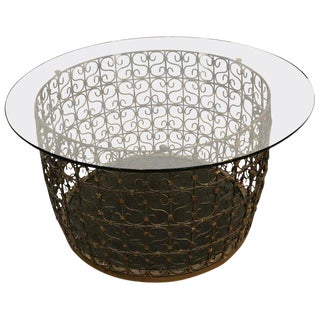 1970s Traditional Iron Filligree Coffee Table For Sale