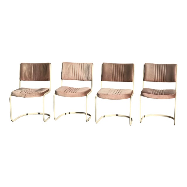 1960s Vintage Marcel Breuer by Knoll Pink Dining Chairs- 4 Pieces For Sale
