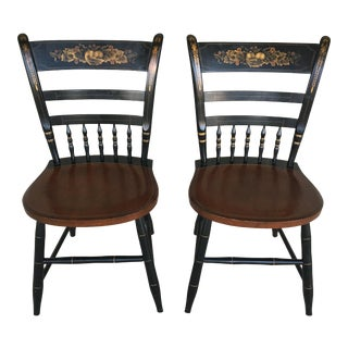 L. Hitchcock Black Harvest Country Sheraton Side Chairs - a Pair For Sale