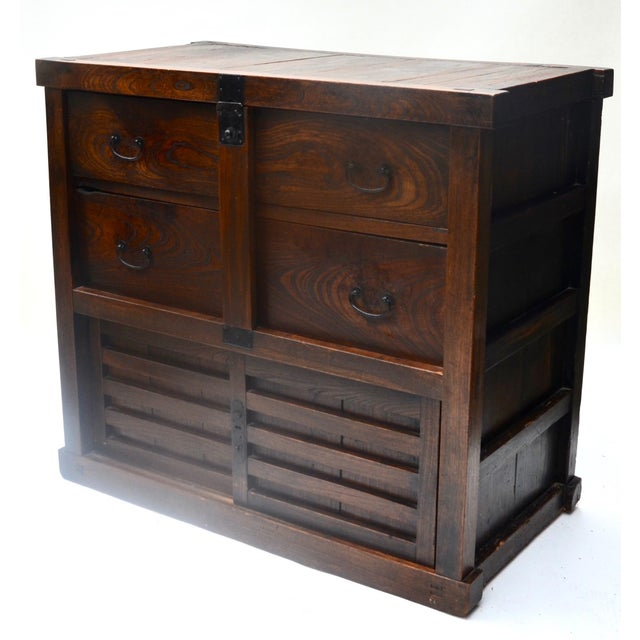 Elm Antique Japanese Choba Tansu With Locking Bar For Sale - Image 7 of 8