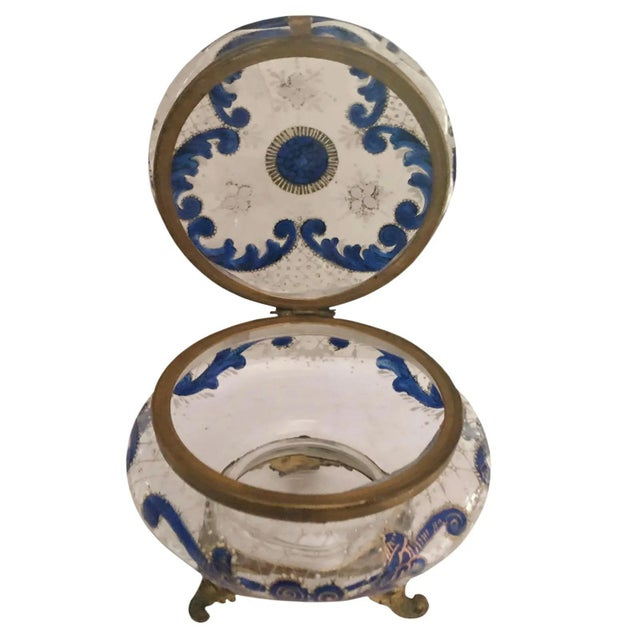 French Antique French Glass and Enamel Dresser Box For Sale - Image 3 of 7