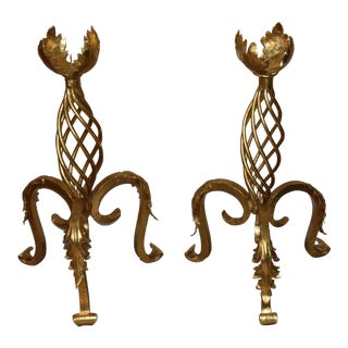 1900s Vintage Art Deco Floor Standing Wrought Iron Gold Leaf Candleholder- A Pair For Sale