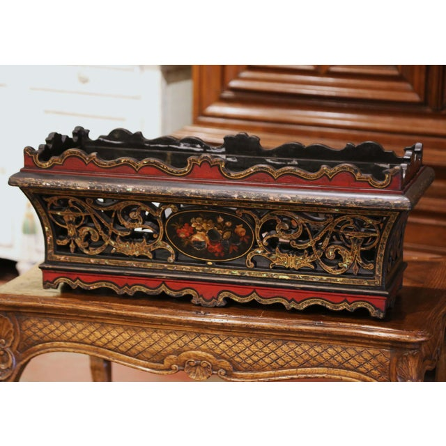 19th Century French Napoleon III Mother of Pearl and Painted Jardinière For Sale - Image 13 of 13