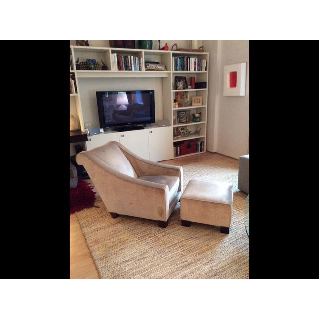 Two Art Deco champagne color chairs with matching ottomans. Chic, comfortable, and in excellent condition. Beautiful...