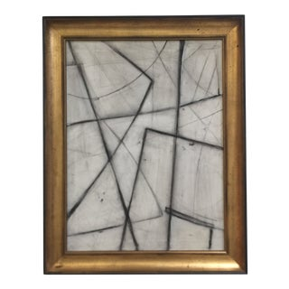 Abstract Charcoal Etching Vintage Frame For Sale