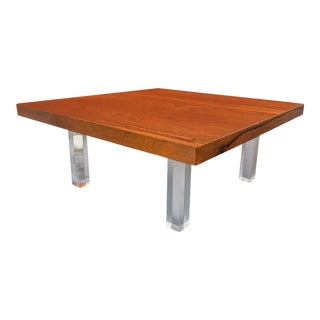 Mid-Century Milo Baughman for Thayer Coggin Rosewood and Lucite Coffee Table