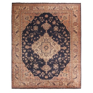 """Antique Oushak Medallion-Style Beige and Blue Wool Rug-8'4'x10'3"""" For Sale"""