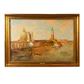 Oil Painting of Venice Harbor by T.L. Novaretti For Sale