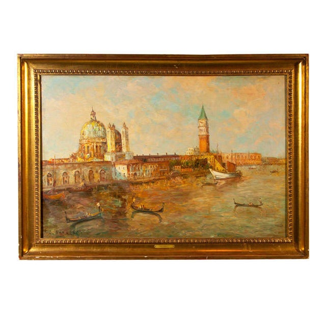 Oil Painting of Venice Harbor by T.L. Novaretti - Image 1 of 9