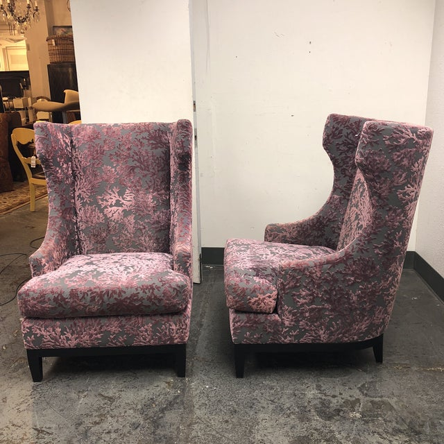 Bernhardt Pascal Contemporary Wingback Chairs - a Pair - Image 11 of 11