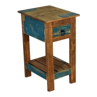 Crafters and Weavers La Boca Blue Side Table For Sale