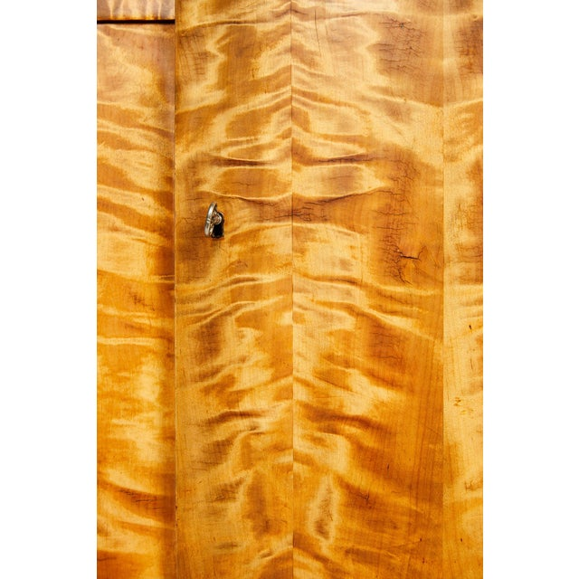 1920s Swedish Art Deco Sideboard of Bookmatched Golden Flame Birch For Sale - Image 5 of 13