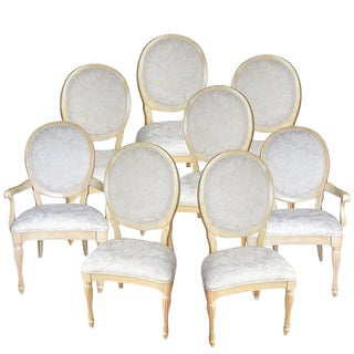 Bernhardt Vintage French Provincial Style White Dining Chairs - Set of 8