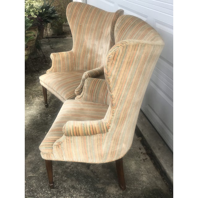 1970s Mid-Century Modern Rainbow Velveteen Wingback Chairs - a Pair For Sale - Image 5 of 13