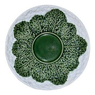 Large Portuguese Majolica Cabbage Platter Bordallo Pinheiro C. Rainha For Sale