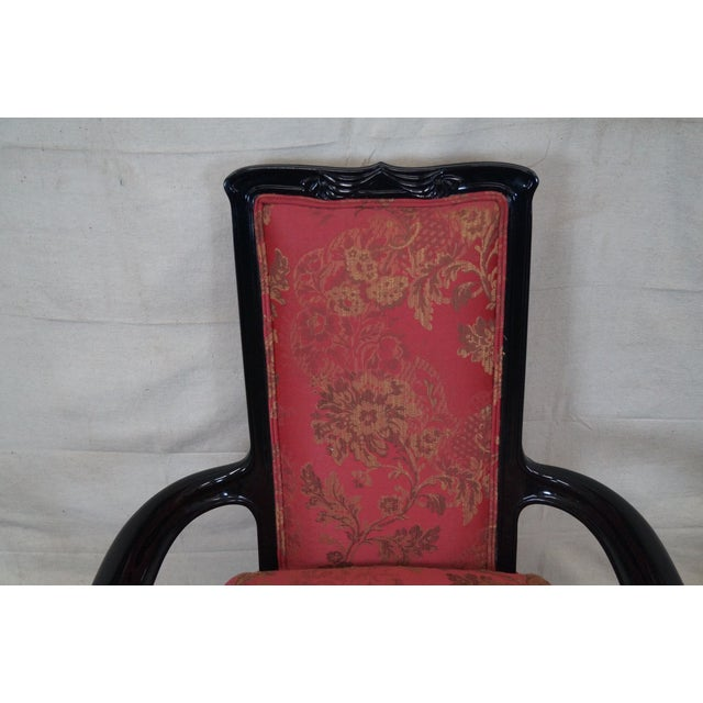 Red Ebonized Art Nouveau Style Arm Chairs - Pair For Sale - Image 8 of 10