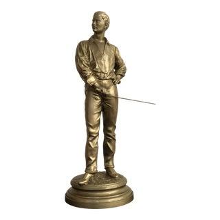Vintage Charles Masse Fencing Statue/Sculpture For Sale