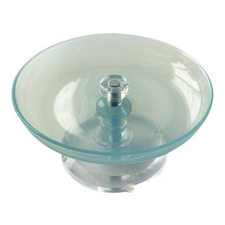 1960s Opalescent Aqua Blue Murano Dish W/ Lucite Base For Sale