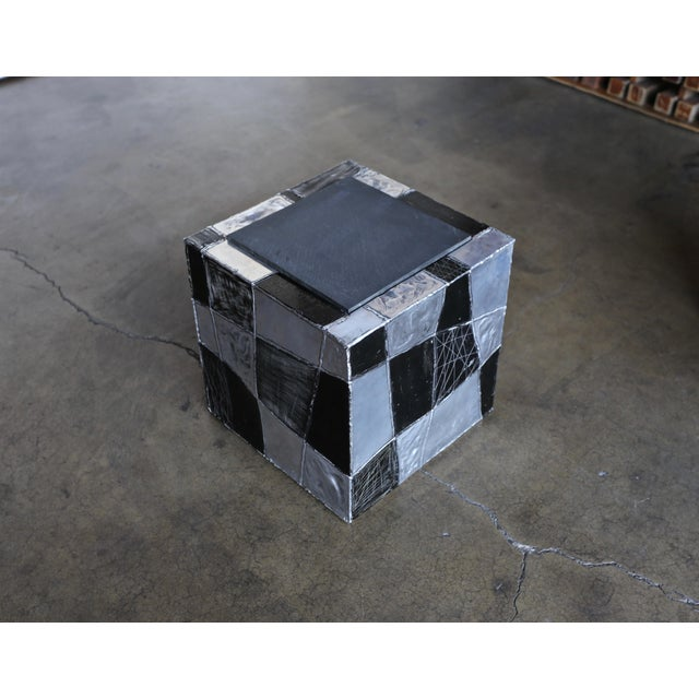 "Aluminum Paul Evans ""Argente"" Cube Side Tables For Sale - Image 7 of 13"