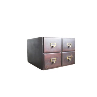 1950s Vintage Library Card Catalog Drawers-Set of 4 For Sale