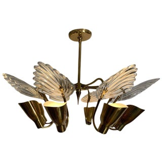 1960s Orrefors Eight-Arm Chandelier For Sale