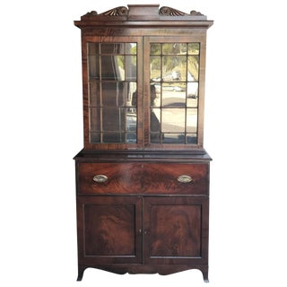 1840s English Traditional Mahogany Secretary Bookcase For Sale