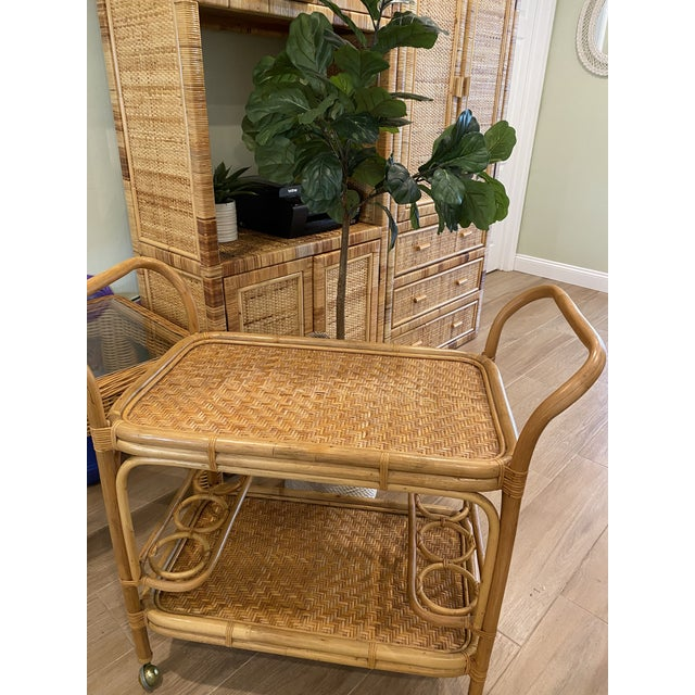 Wood Vintage 1970s Boho Chic Bamboo Rattan Bar Cart For Sale - Image 7 of 10