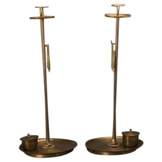 "Late 19th Century Meiji Period Japanese ""Shokudai"" Bronze Candle Stands - a Pair For Sale"