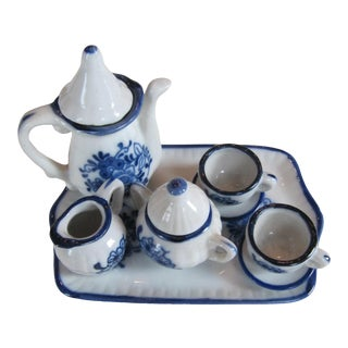 Blue & White Doll Size Tea Set - 10 Pieces For Sale