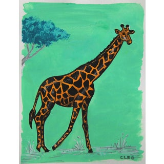 Chinoiserie Giraffe Painting by Cleo Plowden For Sale