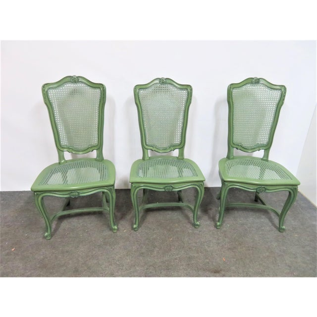 Mid 20th Century Louis XV Custom Painted Caned Dining Chairs- Set of 6 For Sale - Image 5 of 8