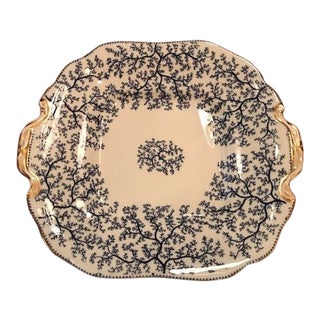 Antique 1900s Minton Fibre Blue Seaweed Pattern Cake Plate For Sale