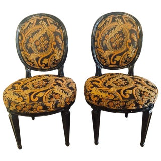 Ebonized Louis XVI Style Side or Office Chairs - a Pair
