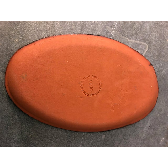 2000 - 2009 Redware Platter With Yellow Slip and Pie Crust Edge For Sale - Image 5 of 7
