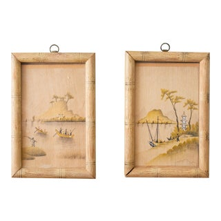 Small Chinoiserie Paintings Framed in Bamboo - a Pair For Sale