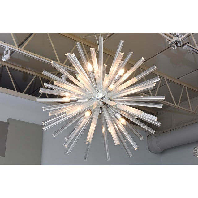 Silver Pair of Monumental Glass and Polished Chrome Chandeliers, Venini for Camer For Sale - Image 8 of 8