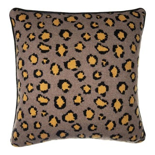 Leopard Cashmere Pillow, Mustard For Sale