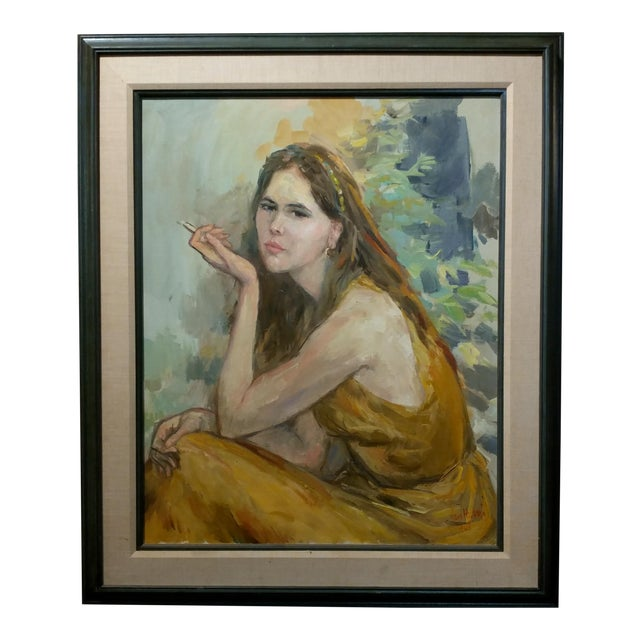 Pretty Woman Holding a Cigarette Original 1967 Oil Painting by Sam Harris For Sale