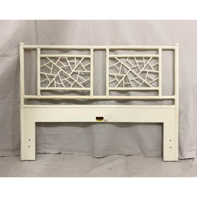 """Vintage McGuire """"cracked ice"""" rattan full size headboard. Rattan fretwork cracked ice panels with leather wrapping. A..."""