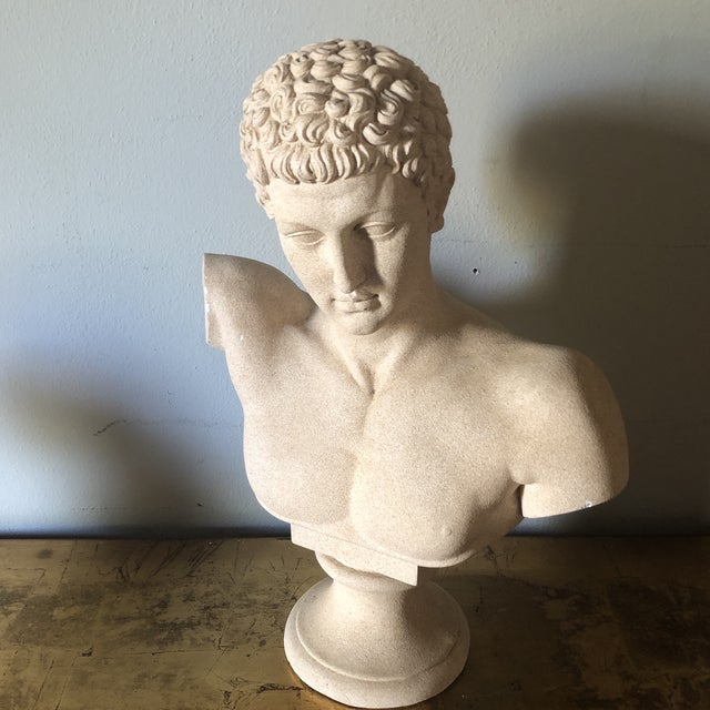 Beautiful male vintage bust. Made of ceramic and coating with a rough texture. A gorgeous accent piece.