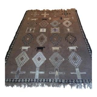 Farm House Style Handmade Moroccan Wool (100%) Rug Animal/Cross Motif Brown/White For Sale