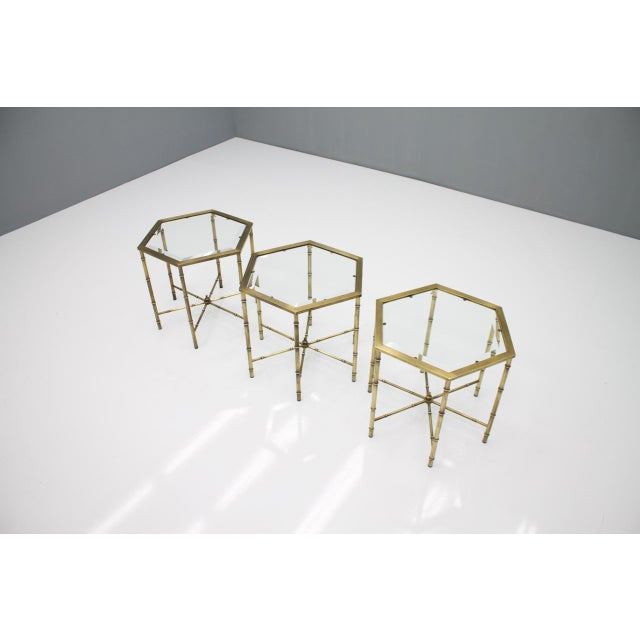 Metal Set of Three Octagonal Side Table in Brass and Glass, 1970s For Sale - Image 7 of 12