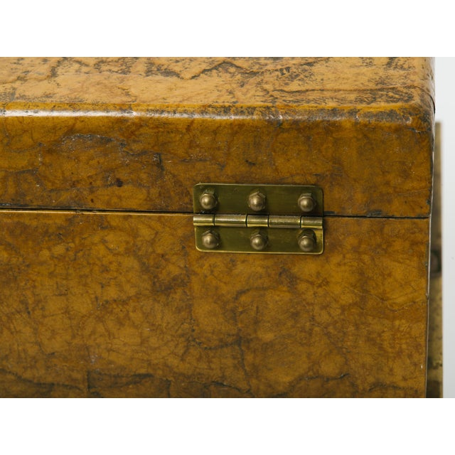 Traditional Leather Trunk on Brass Base by Hart Associates For Sale - Image 3 of 12