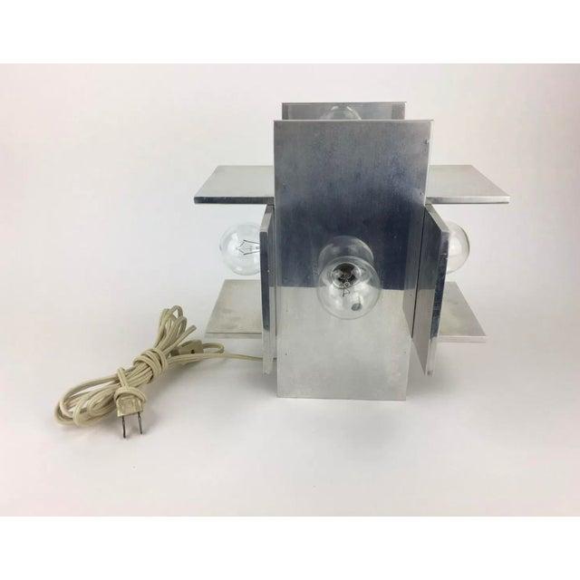 Habitat Rare Vintage Paul Mayen for Habitat Post Modern Geometric Aluminum Planed Lamp For Sale - Image 4 of 7