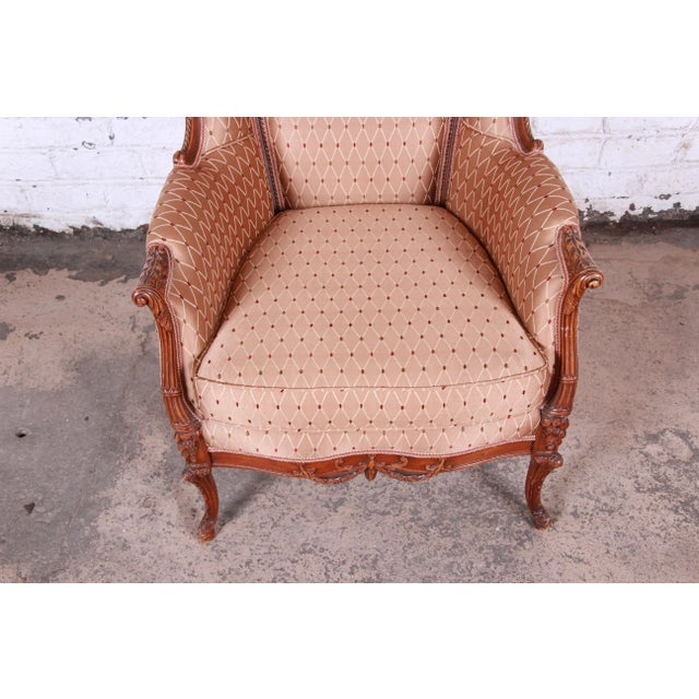 Antique French Carved Wing Back Lounge Chair For Sale In South Bend - Image 6 of 13