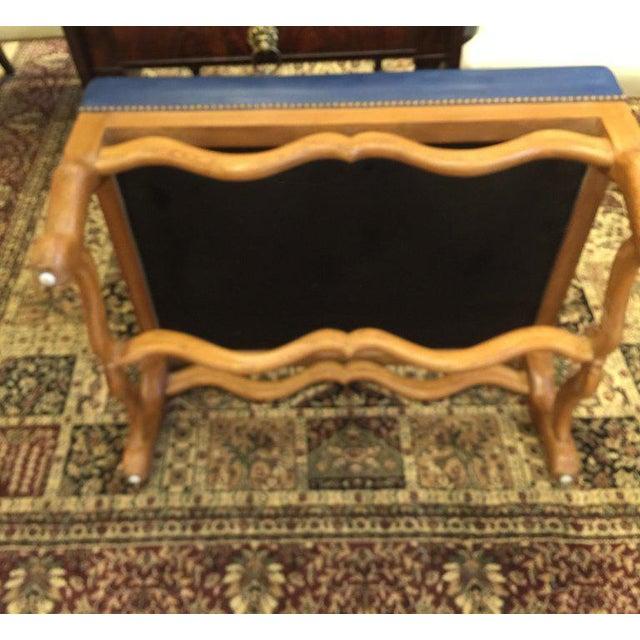 Strange Mid Century Baker Dark Blue Large Leather Ottoman Chairish Machost Co Dining Chair Design Ideas Machostcouk